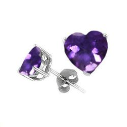 Natural 2.10 ctw Amethyst Heart Earrings .925 Sterling