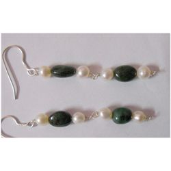 Natural 21.00ct Sapphire/Pearl Earring .925 Sterling