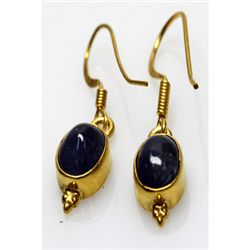 14.24 ctw Tanzanite Earrings 0.925 Silver 14k Yellow Go