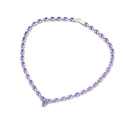 Natural Tanzanite 55.35ctw Oval Necklace 10kt W/Y Gold