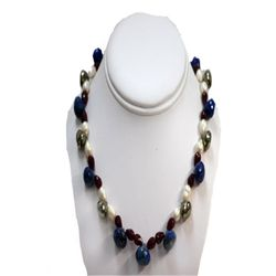 Natural 390.00ct Pearl,Ruby,Lapis,Semi Precious Necklac