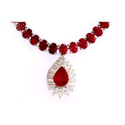 Genuine Vintage Design  91.49 Ctw Ruby Necklace 14k