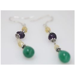 NATURAL  29.30 CTW EMERALD AND SEMI-PRECIOUS  EARRINGS