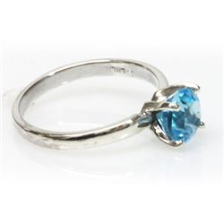 Natural 1.75ctw Blue Topaz Round .925 Sterling Ring