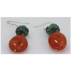 NATURAL 70.10 CTW EMERALD, SUSUNITE EARRINGS .925 STERL