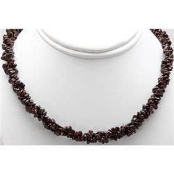 "Natural Garnet 16"" inches Double Twisted Row Necklace"