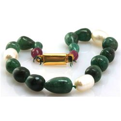 Natural Emerald, Ruby Teardrop Pearl Bracelet 83.07 ctw