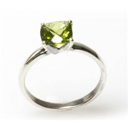 Natural 2ctw Peridot Checker Board .925 Sterling Ring