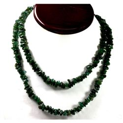 384.70 ctw Natural Un-cut Emerald Bead Necklace