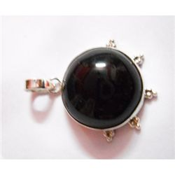 Natural 43.25 ctw Black Onex Pendant .925 Sterling