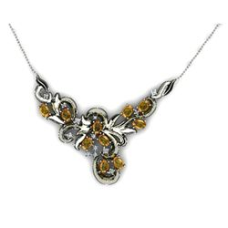 "Genuine 4.74 ctw Citrine Necklace 16.5"" 18k W/Y Gold"