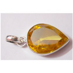 NATURAL 37.05 CTW CITRINE PEARCUT PENDANT .925 STERLING