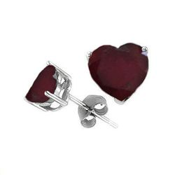 Natural 2.10 ctw Ruby Heart Earrings .925 Sterling