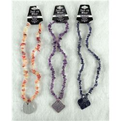 "3 ""HEALING"" NECKLACES GEMSTONE AGATE AMETHYST SODALITE"