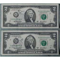 2) CU 2003 $2 Bills Snoopy Oddities Chicago Mint