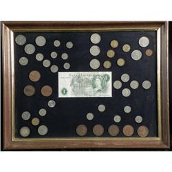 47 Diff Framed European Coins,British 1950s 60s,Silver