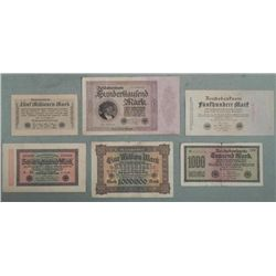 6 Different German Paper Money 1922-1923
