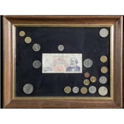 20 Diff Framed European Coins 1950s, 60s Italy,Germany
