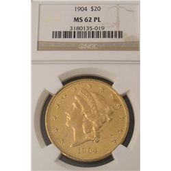 1904 Gold $20 Liberty Coin NGC MS 62 PL