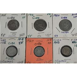 6 Very Nice Cuban Silver & Copper Coins 1910-1920