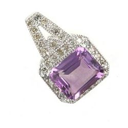 5.0 Ctw. Amethyst & Diamond Pendant In 10kw Gold