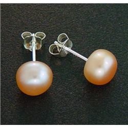 7 Mm Pink Pearl Stud Earrings