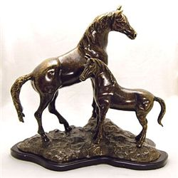 Horse With Colt Bronze Sculpture