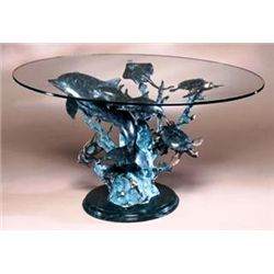 Dolphin Sealife Bronze Sculpture Coffee Table