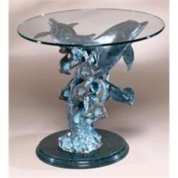 Dolphin Sealife Bronze Sculpture End Table