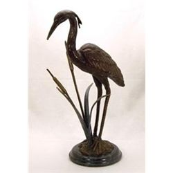Crane Bronze Sculpture