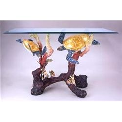 Turtle Bronze Sculpture Console Table