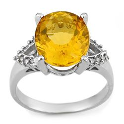 Genuine 6.20 ctw Citrine & Diamond Ring 10K White Gold