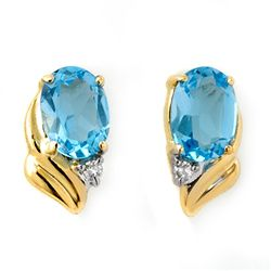 Genuine 1.23 ctw Blue Topaz & Diamond Earrings 10K Gold