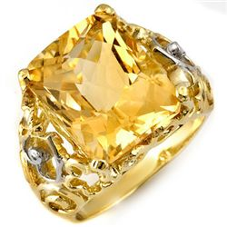 Genuine 10.03 ctw Citrine & Diamond Ring 10K Yellow Gold