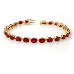 Genuine 16 ctw Ruby Bracelet 10K Yellow Gold