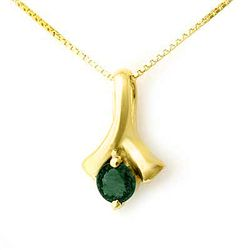Genuine 0.25 ctw Emerald Pendant 10K Yellow Gold