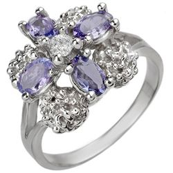 Genuine 0.83ctw Tanzanite & Diamond Ring 10K White Gold