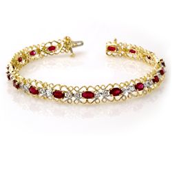 Genuine 4.22 ctw Ruby & Diamond Bracelet Yellow Gold