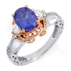 Genuine 2.82ctw Tanzanite & Diamond Ring 14K Multi tone Gold