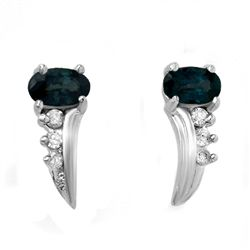 Genuine 0.55 ctw Sapphire & Diamond Earrings 10K Gold