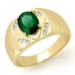 Genuine 2.30ct Emerald &amp; Diamond Men's Ring Yellow Gold
