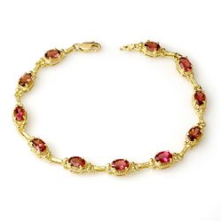 Genuine 4.5 ctw Pink Tourmaline Bracelet 10K Yellow Gold