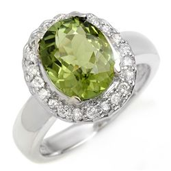 Genuine 3.4 ctw Green Tourmaline & Diamond Ring Gold