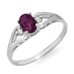 Genuine 0.53 ctw Amethyst & Diamond Ring 10K White Gold