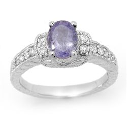 Genuine 2.0ct Tanzanite & Diamond Ring 14K White Gold