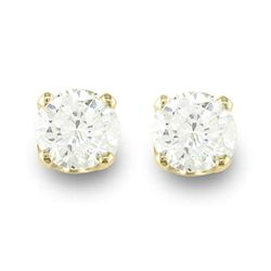 Natural 0.75 ctw Diamond Stud Earrings 14K Yellow Gold