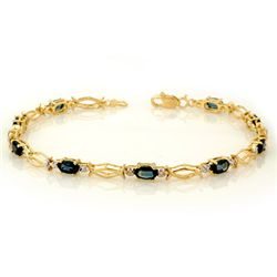 Genuine 3.25 ctw Blue Sapphire Bracelet 10K Yellow Gold