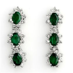 Genuine 4.88 ctw Emerald & Diamond Earrings White Gold
