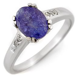 Genuine 1.35ctw Tanzanite & Diamond Ring 10K White Gold