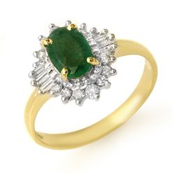 Genuine 1.25 ctw Emerald & Diamond Ring 10K Yellow Gold
